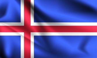 Iceland 3d flag  vector