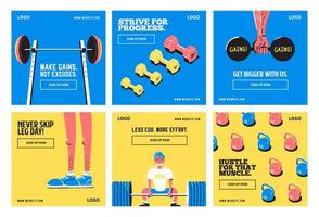 Fitness gym templates vector