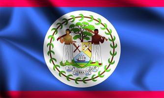Belize 3d flag  vector