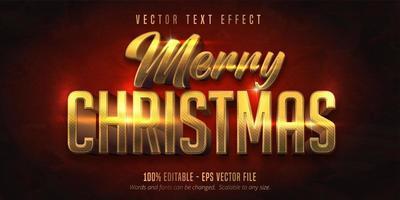 Merry christmas shiny gold editable text effect vector