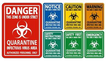 Quarantine Infectious Virus Area Sign  vector