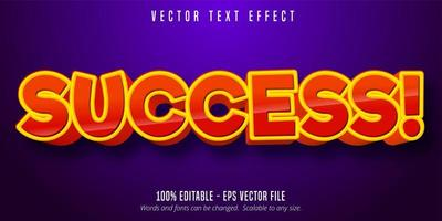 Success red orange comic style editable text effect