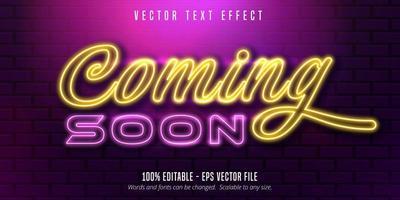 próximamente efecto de texto editable de estilo neón vector