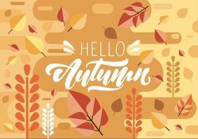 hola otoño texto en letras sobre fondo vector