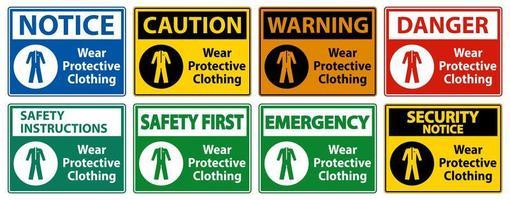 usar letrero de ropa protectora vector