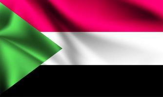 Sudan 3d flag vector