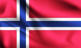 bandera 3d de noruega vector