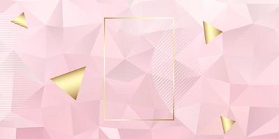 banner geométrico rosa y oro vector