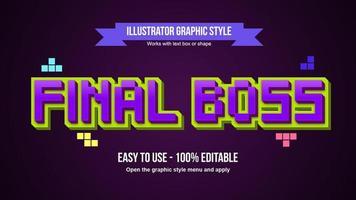 Efeito de texto roxo estilo cartoon 3D pixel vetor