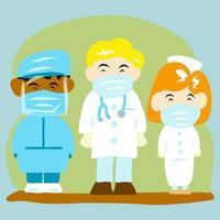 médicos de dibujos animados y enfermeras en mascarillas vector