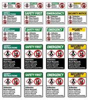 etiqueta de seguridad, peligro de polvo de asbesto