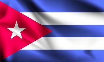 Cuba 3d flag  vector