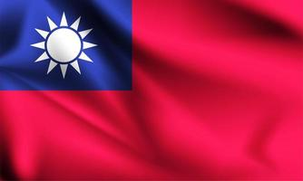Taiwan 3d flowing flag  vector