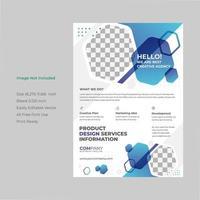 Blue Hexagon Shape Flyer Brochure Template