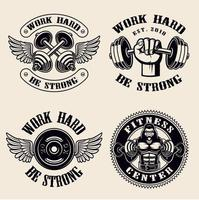 Work Hard Gym badges  vector