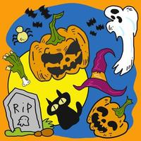 Pumpkins and Ghost Halloween Design