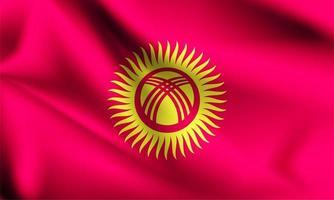 Kirguistán 3d ondeando la bandera