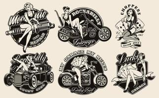 Set of vintage pin-up girls vector