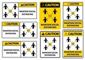 Caution Maintain social distancing vector