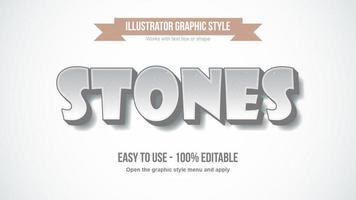 efecto de texto de patrón de piedra de dibujos animados vector