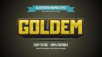 Yellow 3D Cartoon Glossy Text Effect vector