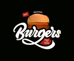 Delicious hot burgers vector
