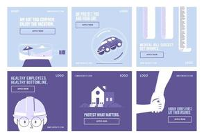 Insurance and health collection template vector
