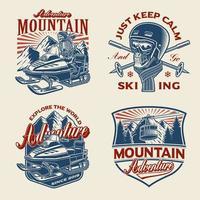 Set of winter-sport themed illustrations vector