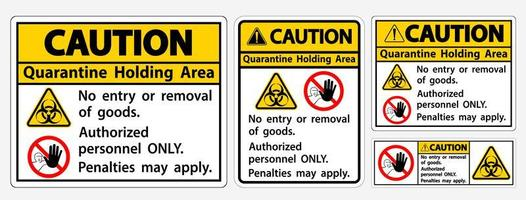 Caution Quarantine Holding Area Sign