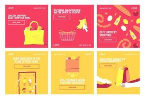 Shop groceries delivery social media post vector