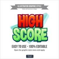 efecto de texto editable de dibujos animados 3d rojo y verde vector