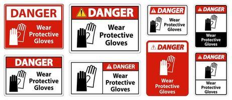 Danger Wear protective gloves vector