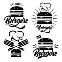 Burger badge set with lettering.