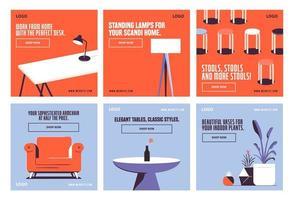 Furnitures decor social media post vector