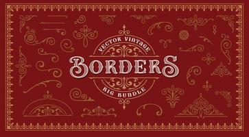 Vintage borders and design elements vector