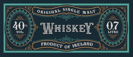 etiqueta de whisky vintage vector