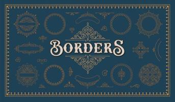 A set of gold vintage borders vector