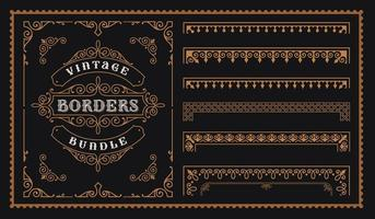 Set of vintage borders in victorian style. vector