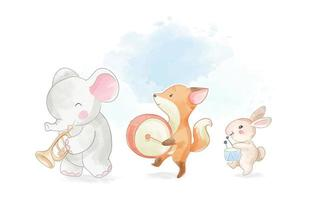 Cute Animal Parade with Music Instruments vector