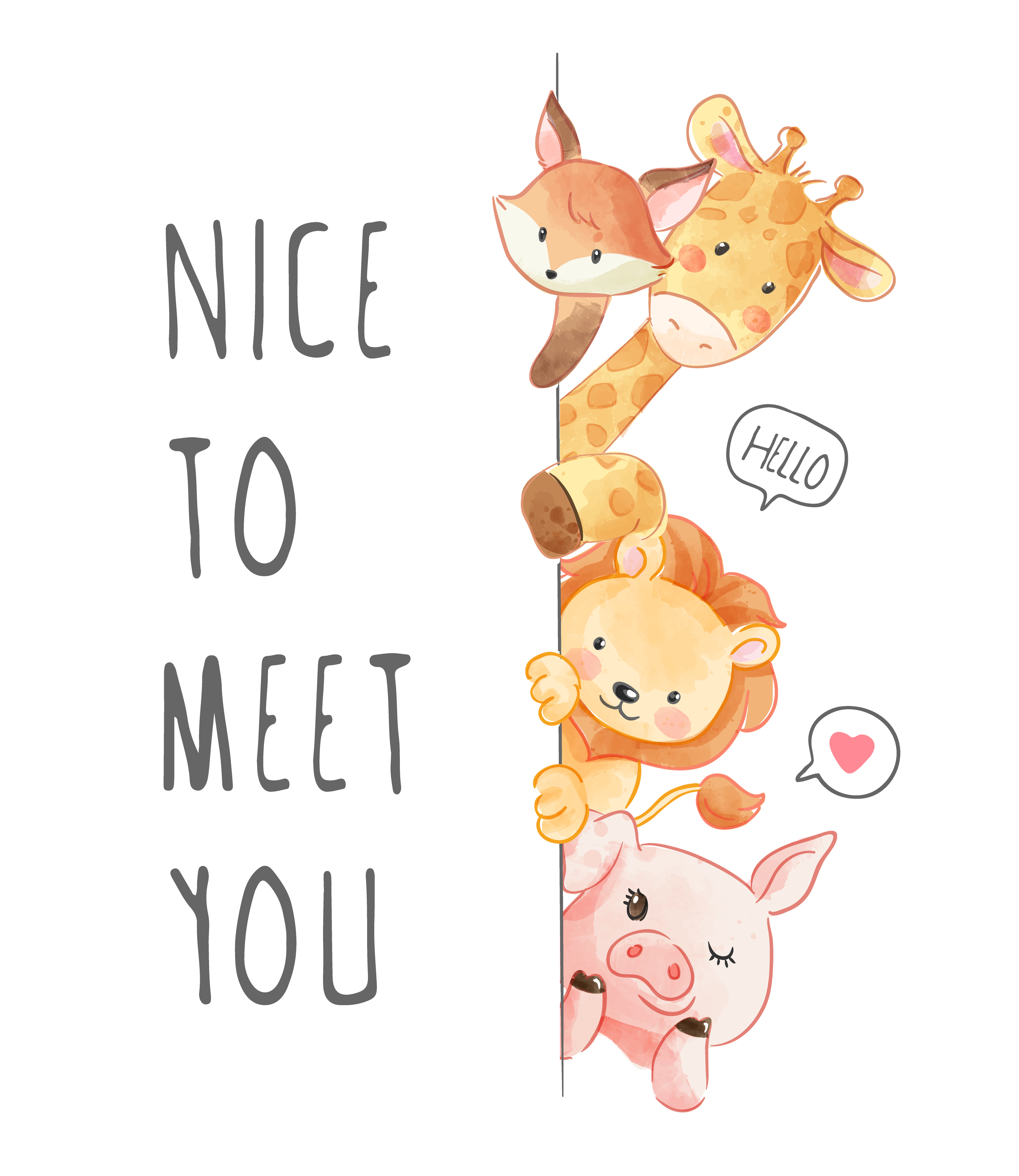 Nice To Meet You Slogan With Animals Download Free Vectors Clipart Graphics Vector Art