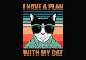 Plan with Cat Retro vector