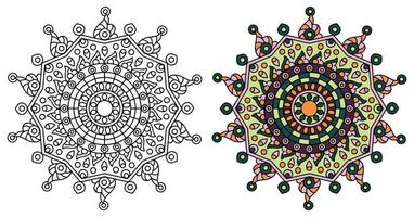 Rounded Star Mandala Design Coloring Template  vector