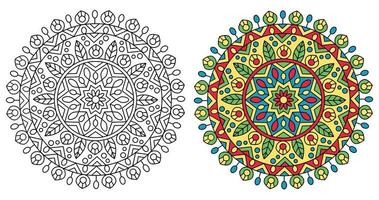 Traditional Rounded Mandala Design Coloring Page