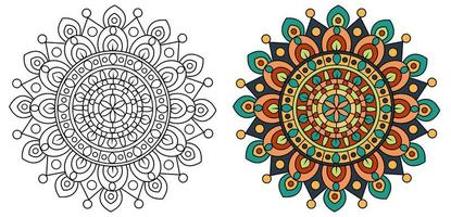 Mandala Design Coloring Page Template Outline