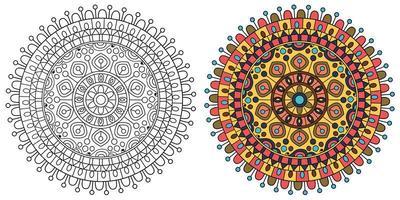 Round Orange and Yellow Mandala Coloring Page