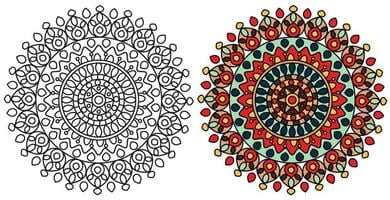 Mandala Colorful Coloring Page Template