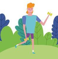 jeune homme avec des haltères en plein air vecteur