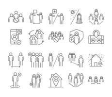Social distancing prevention line style icon set