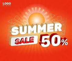Summer Sale Percent Social Post with Sun