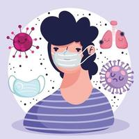 Covid 19 pandemic cartoon with protective mask sick lung